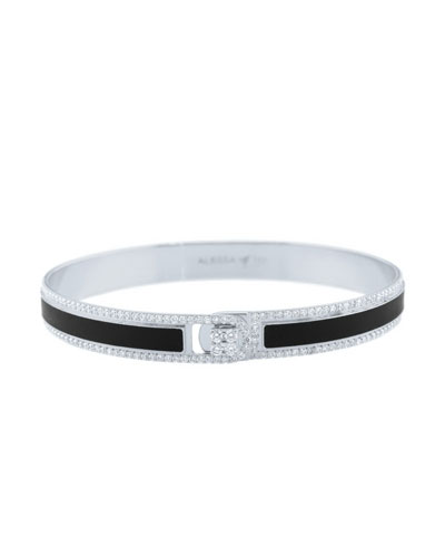 Spectrum Painted 18k White Gold Bangle w/ Diamonds, Black, Size 18