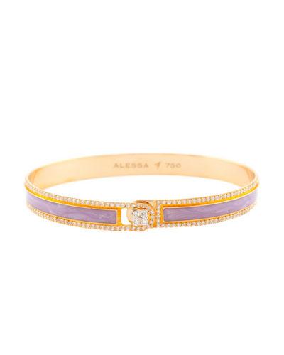 Spectrum Painted 18k Rose Gold Bangle w/ Diamonds, Light Purple, Size 18