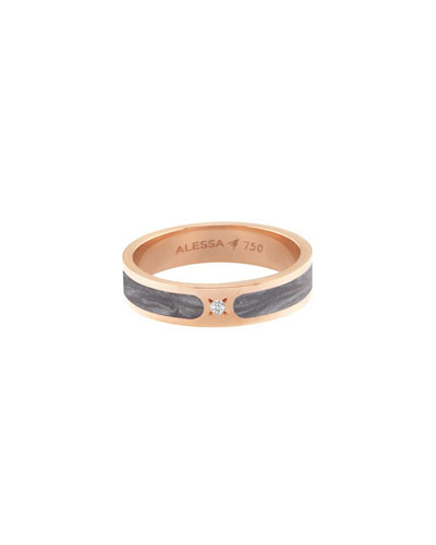 Spectrum Painted 18k Rose Gold Stack Ring w/ Diamond, Gray, Size 8