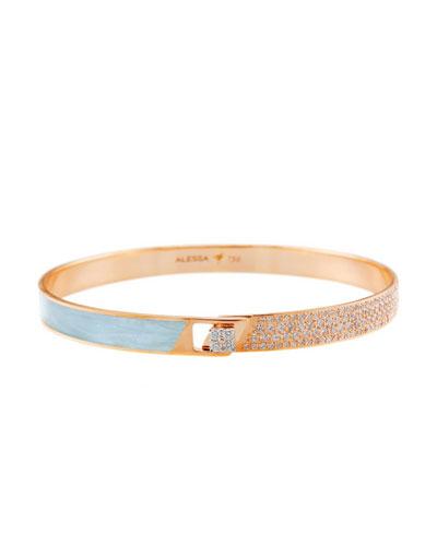 Spectrum 18k Rose Gold Painted Bangle w/ Diamonds, Light Blue, Size 18