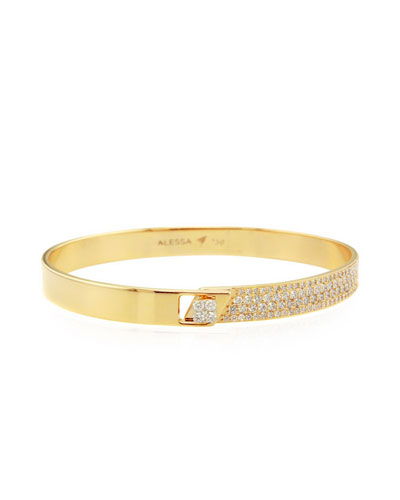 Spectrum 18k Yellow Gold Bangle w/ Diamonds, Size 16