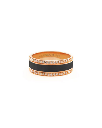 Spectrum Painted 18k Rose Gold Ring w/ Diamond Trim, Black, Size 7.5