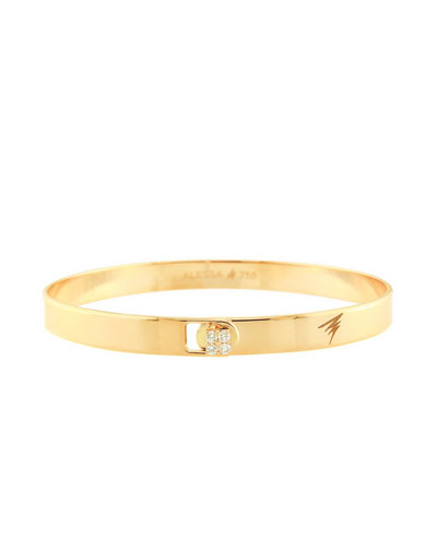 Spectrum 18k Yellow Gold Bangle w/ Diamond Clasp, Size 18