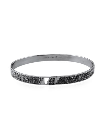 Spectrum 18k Black Gold Bangle w/ Pave Diamonds, Size 18