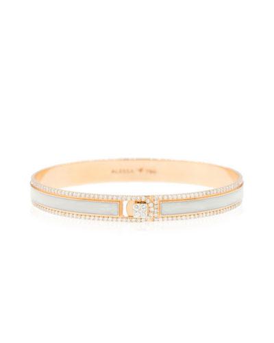 Spectrum Painted 18k Rose Gold Bangle w/ Diamonds, White, Size 18
