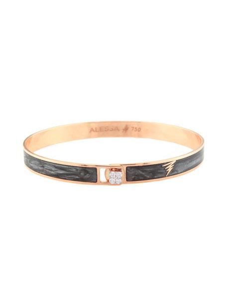 Alessa Jewelry Spectrum 18k Rose Gold Paint & Diamond Bangle, Gray, Size 18
