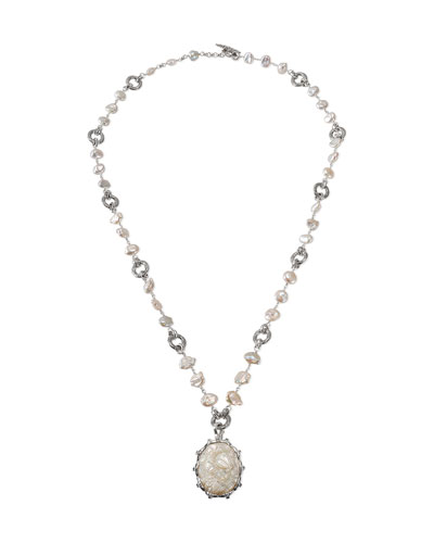 Carved Pearl & London Blue Topaz Pendant Necklace
