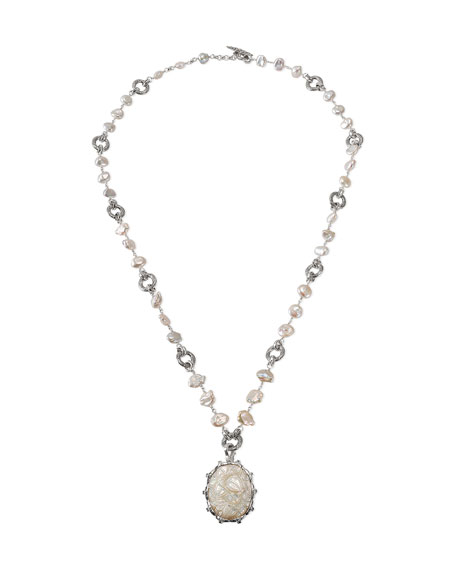 Stephen Dweck Carved Pearl & London Blue Topaz Pendant Necklace