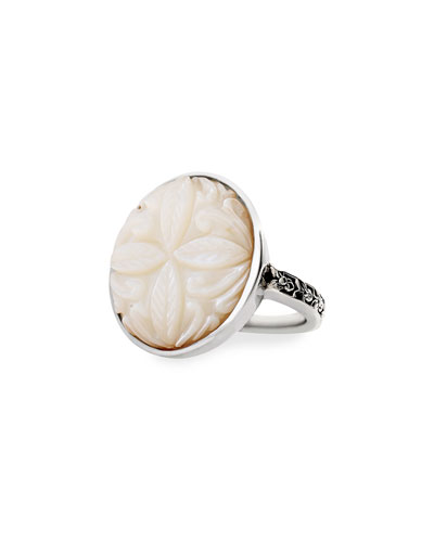 Carved Mother-of-Pearl Ring, Size 9