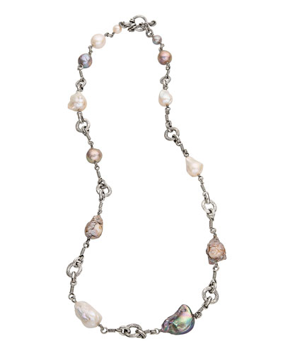 Carved Baroque Pearl & Link Necklace