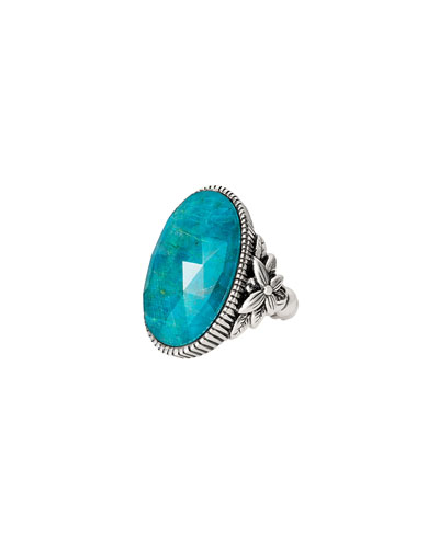 Long Oval Stone Ring, Chrysocolla, Size 7
