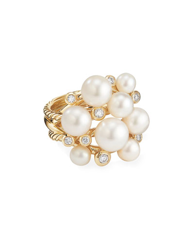 18k Large Diamond & Pearl Cluster Ring, Size 6