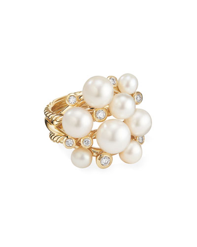 18k Large Diamond & Pearl Cluster Ring, Size 9