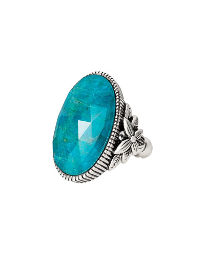 Long Oval Stone Ring, Chrysocolla, Size 9
