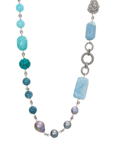 Long Multi-Stone & Silver Pearl Necklace, 44