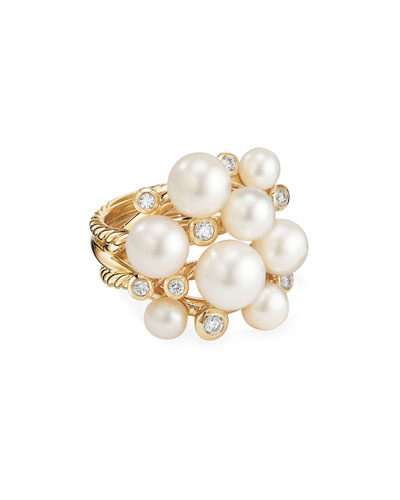 18k Large Diamond & Pearl Cluster Ring, Size 7