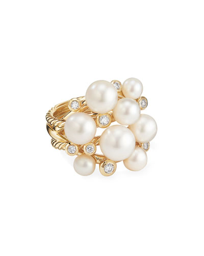 18k Large Diamond & Pearl Cluster Ring, Size 8