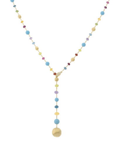 Africa 18k Mixed-Stone Lariat Necklace w/ Diamonds