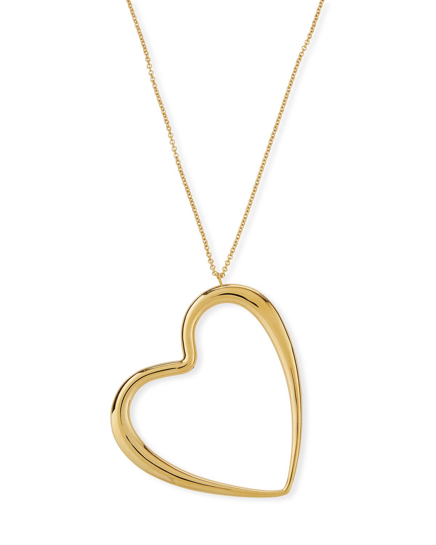 Millennia 18k Graduated Oversize Heart Pendant Necklace
