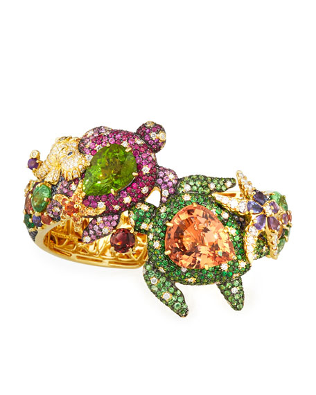 Nini Collection 18k Pink Tourmaline, Peridot & Sapphire Turtle Bracelet
