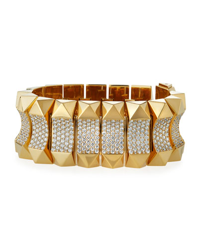 18k Gold Rock & Diamond Bracelet - Wide