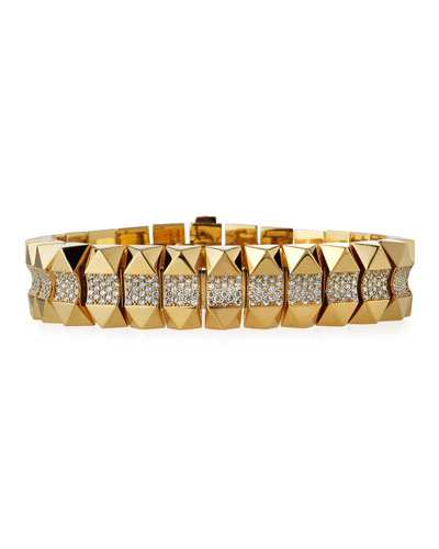 18k Gold Rock & Diamond Bracelet - Thin