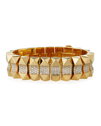 18k Gold Rock & Diamond Bracelet - Mid
