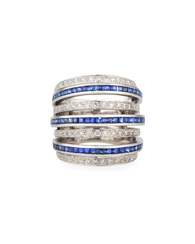 18k White Gold Blue Sapphire & Diamond 7-Row Ring, Size 7
