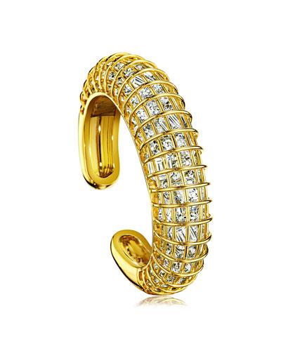 18k Rock Crystal Caged Cuff Bracelet