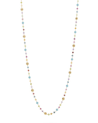 Africa 18k Long Mixed-Stone Necklace, 36