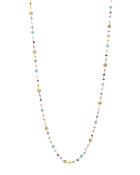 "Marco Bicego Africa 18k Long Mixed-Stone Necklace, 36""L"