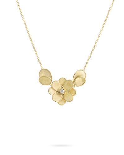 Petali 18k Flower Pendant Necklace w/ Diamonds