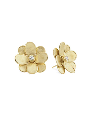 Petali 18k Flower Stud Earrings w/ Diamonds