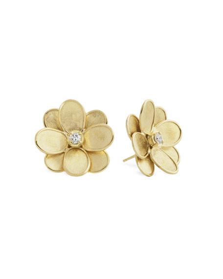Marco Bicego Petali 18k Flower Stud Earrings w/ Diamonds