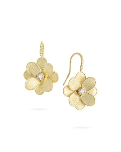 Petali 18k Flower Drop Earrings w/ Diamonds