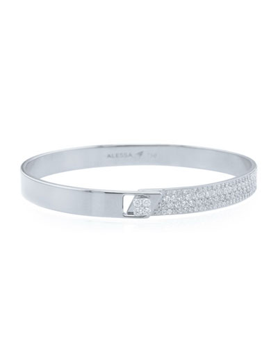 Spectrum 18k White Gold Bangle w/ Diamonds, Size 17