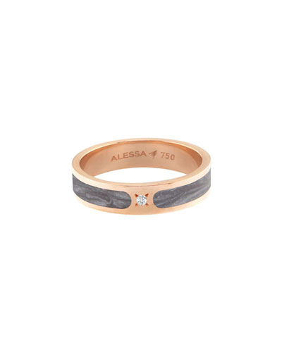 Spectrum Painted 18k Rose Gold Stack Ring w/ Diamond, Gray, Size 9