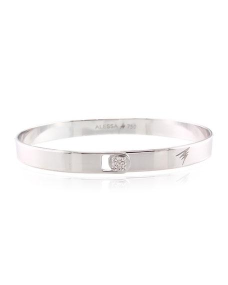 Alessa Jewelry Spectrum 18k White Gold Bangle w/ Diamond Clasp, Size 17