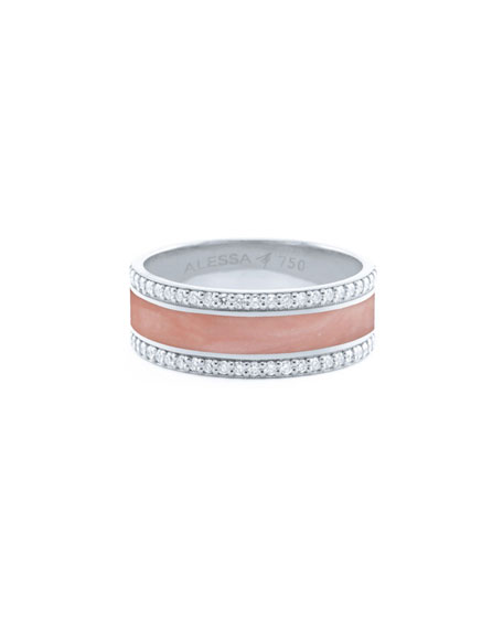 Alessa Jewelry Spectrum Painted 18k White Gold Ring w/ Diamond Trim, White, Size 7.5