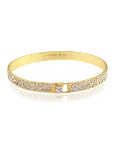 Spectrum 18k Yellow Gold Bangle w/ Pave Diamonds, Size 16