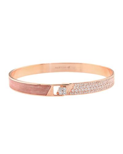Spectrum 18k Rose Gold Painted Bangle w/ Diamonds, Pink, Size 17