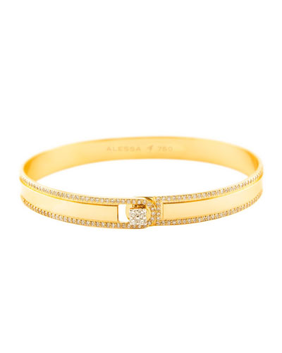 Spectrum Painted 18k Yellow Gold Bangle w/ Diamonds, Yellow, Size 18