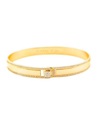 Spectrum Painted 18k Yellow Gold Bangle w/ Diamonds, Yellow, Size 18