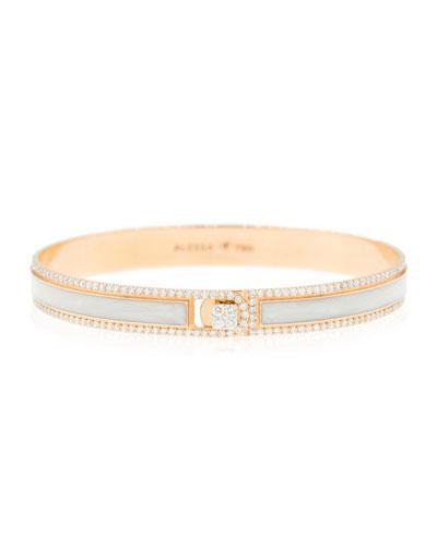 Spectrum Painted 18k Rose Gold Bangle w/ Diamonds,White, Size 16