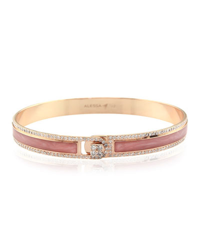 Spectrum Painted 18k Rose Gold Bangle w/ Diamonds, Pink, Size 17