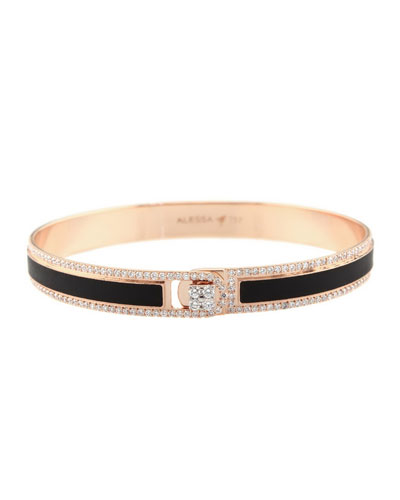 Spectrum Painted 18k Rose Gold Bangle w/ Diamonds, Black, Size 17