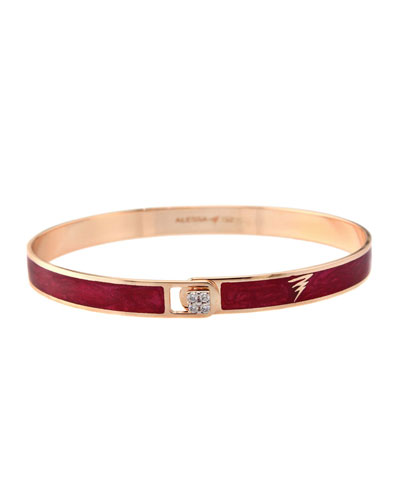 Spectrum 18k Rose Gold Paint & Diamond Bangle, Red, Size 18