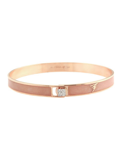 Spectrum 18k Rose Gold Paint & Diamond Bangle, Pink, Size 16