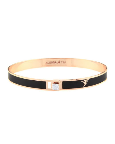 Spectrum 18k Rose Gold Paint & Diamond Bangle, Black, Size 17