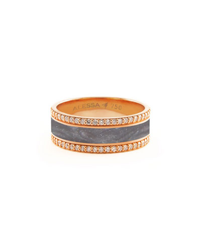 Spectrum Painted 18k Rose Gold Ring w/ Diamond Trim, Gray, Size 7.5